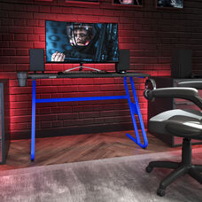 BlackArc Blue Gaming Ergonomic Desk with Cup Holder and Headphone Hook