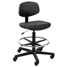 Rhino Intensive Use Small Back Mid-Height Drafting Chair - 4 Way Control - Black