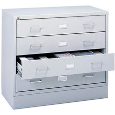 Audio and Video Microform Media Storage Cabinet with Label Holders - Light Gray