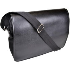 Kensington Messenger Bag - Saffiano Genuine Leather - Black