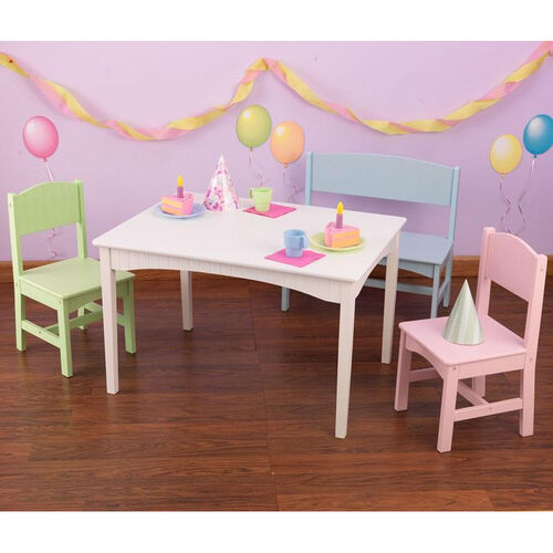 Our Nantucket Four Piece Kids Wooden Square Table with One Bench and Two Chairs - Pastel is on sale now.