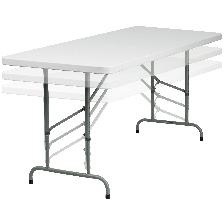 30u0027u0027W X 72u0027u0027L Height Adjustable Granite White Plastic Folding Table