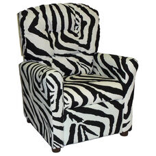 Kids Recliner with Button Tufted Back - Zebra