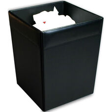 Classic Leather Square Waste Basket - Black