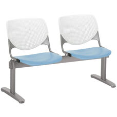 2300 KOOL Series Beam Seating with 2 Poly White Perforated Back and Sky Blue Seats