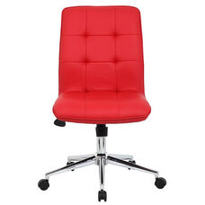 Modern CaressoftPlus Office Chair with Chrome Base and Hooded Casters - Red