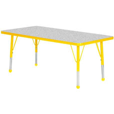 Adjustable Standard Height Laminate Top Rectangular Activity Table - Nebula Top with Yellow Edge and Legs - 36