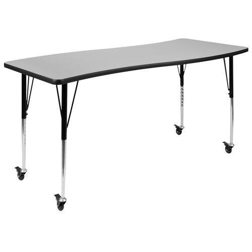 """Our Mobile 26""""W x 60""""L Rectangular Wave Collaborative Grey Thermal Laminate Activity Table - Standard Height Adjustable Legs is on sale now."""