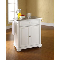 Stainless Steel Top Portable Kitchen Island with Alexandria Feet - White Finish