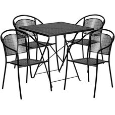 "Commercial Grade 28"" Square Black Indoor-Outdoor Steel Folding Patio Table Set with 4 Round Back Chairs"