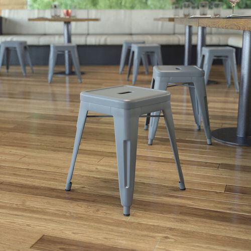 """18"""" Table Height Stool, Stackable Backless Metal Indoor Dining Stool, Commercial Grade Restaurant Stool - Set of 4"""