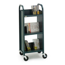 Single Sided Duro Book Truck with Slanted Shelves - 17