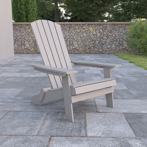 Charlestown All-Weather Poly Resin Indoor/Outdoor Folding Adirondack Chair in Gray