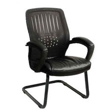 Work Smart Screen Back Designer Contoured Shell Visitor Chair with Bonded Leather Seat - Black