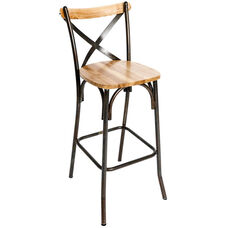 Henry Rustic Metal Cross Back Barstool - Natural Ash Wood Seat