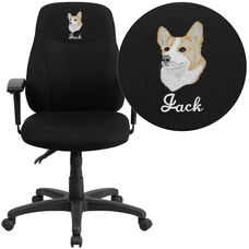 Embroidered Mid-Back Black Fabric Multifunction Ergonomic Swivel Task Chair with Adjustable Arms