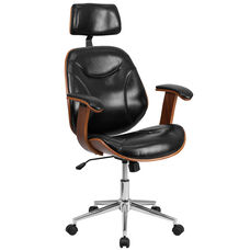 High Back Black Leather Executive Ergonomic Wood Swivel Office Chair with Arms