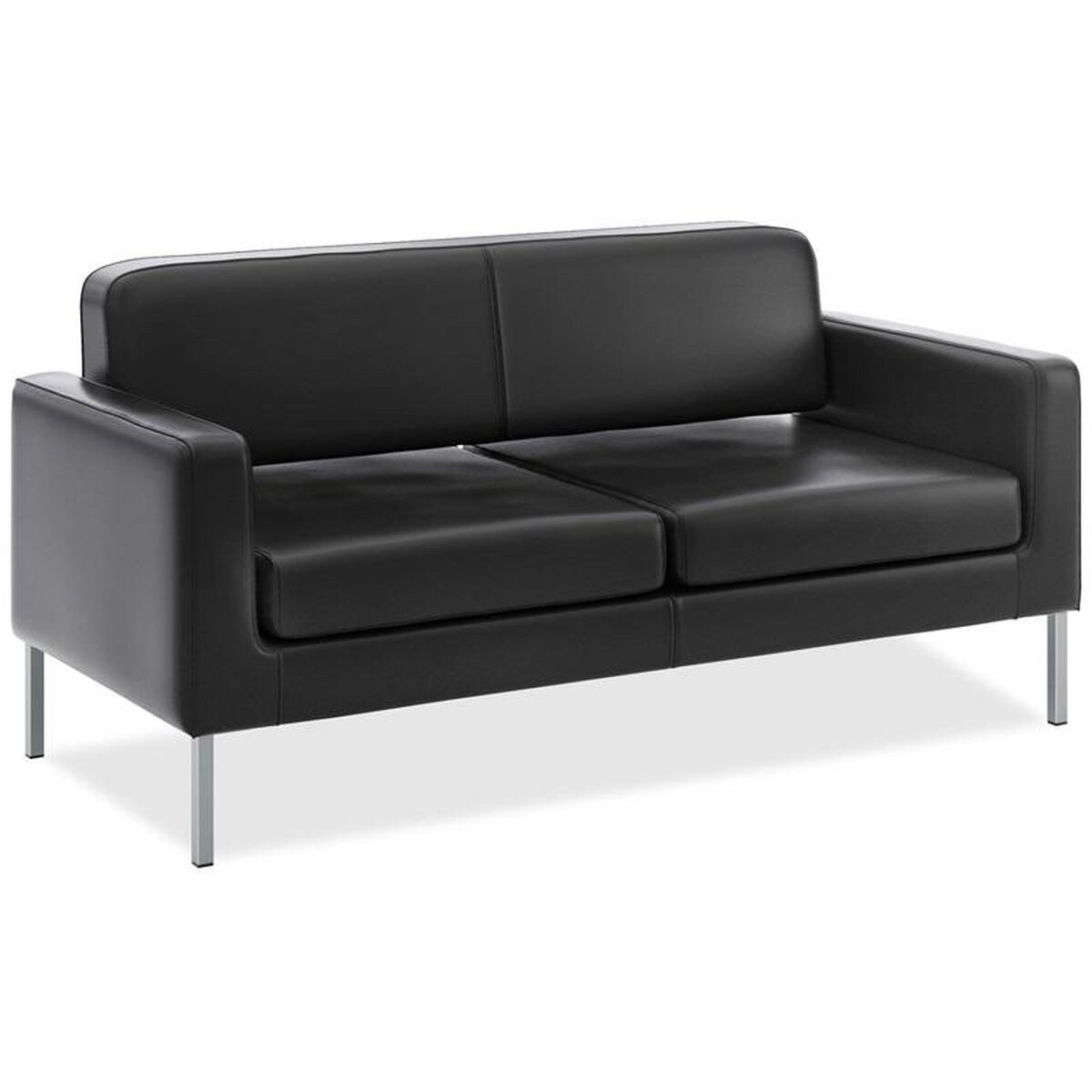Our Basyx Low Back Two Seat Sofa With Arms Black Leather Is On Now