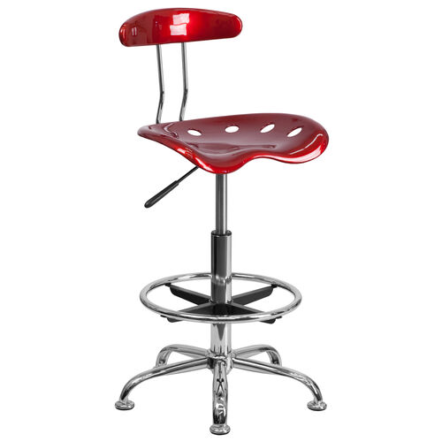 Our Vibrant Wine Red and Chrome Drafting Stool with Tractor Seat is on sale now.