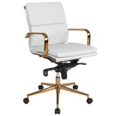 Mid-Back White Leather Executive Swivel Office Chair with Gold Frame, Synchro-Tilt Mechanism and Arms
