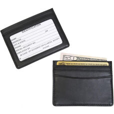 Mini Id and Credit Card Holder - Top Grain Nappa Leather - Black
