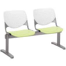 2300 KOOL Series Beam Seating with 2 Poly White Perforated Back and Lime Green Seats