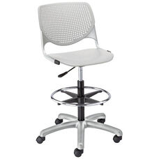 DS2300 KOOL Series Poly Armless Task Stool with Perforated Back and Silver Frame - Light Grey