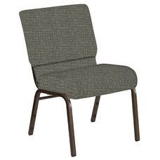 Embroidered 21''W Church Chair in Interweave Slate Fabric - Gold Vein Frame
