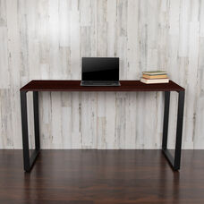 """Commercial Grade Industrial Style Office Desk - 55"""" Length (Mahogany)"""