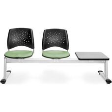 Stars 3-Beam Seating with 2 Sage Green Fabric Seats and 1 Table - Gray Nebula Finish