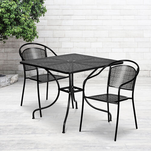 """Our Commercial Grade 35.5"""" Square Indoor-Outdoor Steel Patio Table Set with 2 Round Back Chairs is on sale now."""