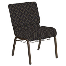 Embroidered 21''W Church Chair in Scatter Pepper Fabric with Book Rack - Gold Vein Frame