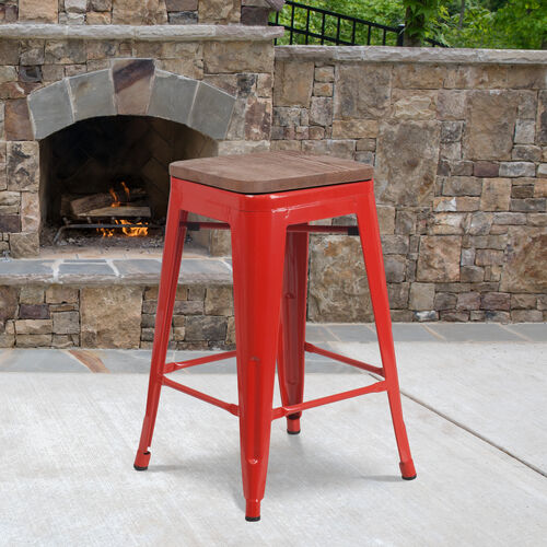 """24"""" High Backless Red Metal Counter Height Stool with Square Wood Seat"""