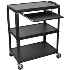 Extra Large Adjustable Height Steel A/V Cart with Pullout Shelf - Black - 32