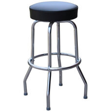 50's Retro Backless 24''H Swivel Bar Stool with Chrome Frame and Padded Seat - Black Vinyl