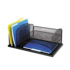 Safco® Desk Organizer - Six Sections - Steel Mesh - 19 3/8 x 11 3/8 x 8 - Black