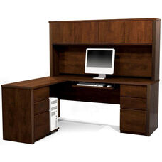 Prestige + L-Shaped and Hutch Assembly with Keyboard Shelf and CPU Platform - Chocolate