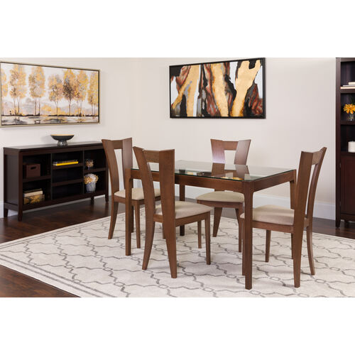 Livingston 5 Piece Walnut Wood Dining Table Set With Glass Top And Slotted Back