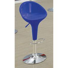 Sybill Acrylic Mid Back Height Adjustable Swivel Barstool with Chrome Base - Set of 2 - Blue