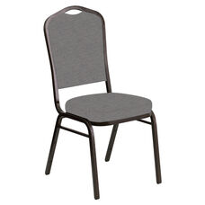 Embroidered Crown Back Banquet Chair in Ravine Granite Fabric - Gold Vein Frame