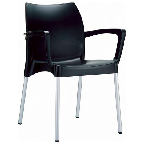 Our Dolce Outdoor Resin Stackable Arm Chair with Aluminum Legs - Black is on sale now.