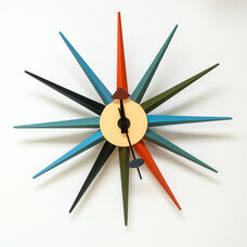 Retro Starburst Colorful Painted Metal Wall Clock