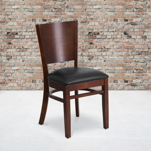 Our Walnut Finished Solid Back Wooden Restaurant Chair with Black Vinyl Seat is on sale now.