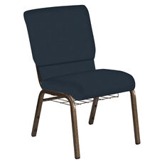 Embroidered 18.5''W Church Chair in Neptune Azure Fabric with Book Rack - Gold Vein Frame