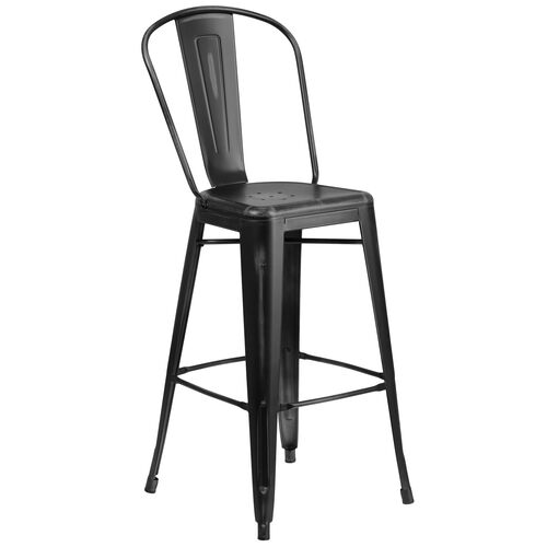 "Our Commercial Grade 30"" High Distressed Black Metal Indoor-Outdoor Barstool with Back is on sale now."