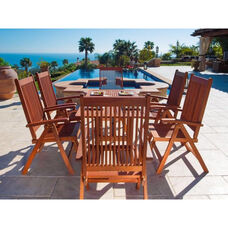 Malibu Outdoor 7 Piece Wood Patio Dining  Set with Curvy Leg Table and 6 Slat Back Folding Armchairs