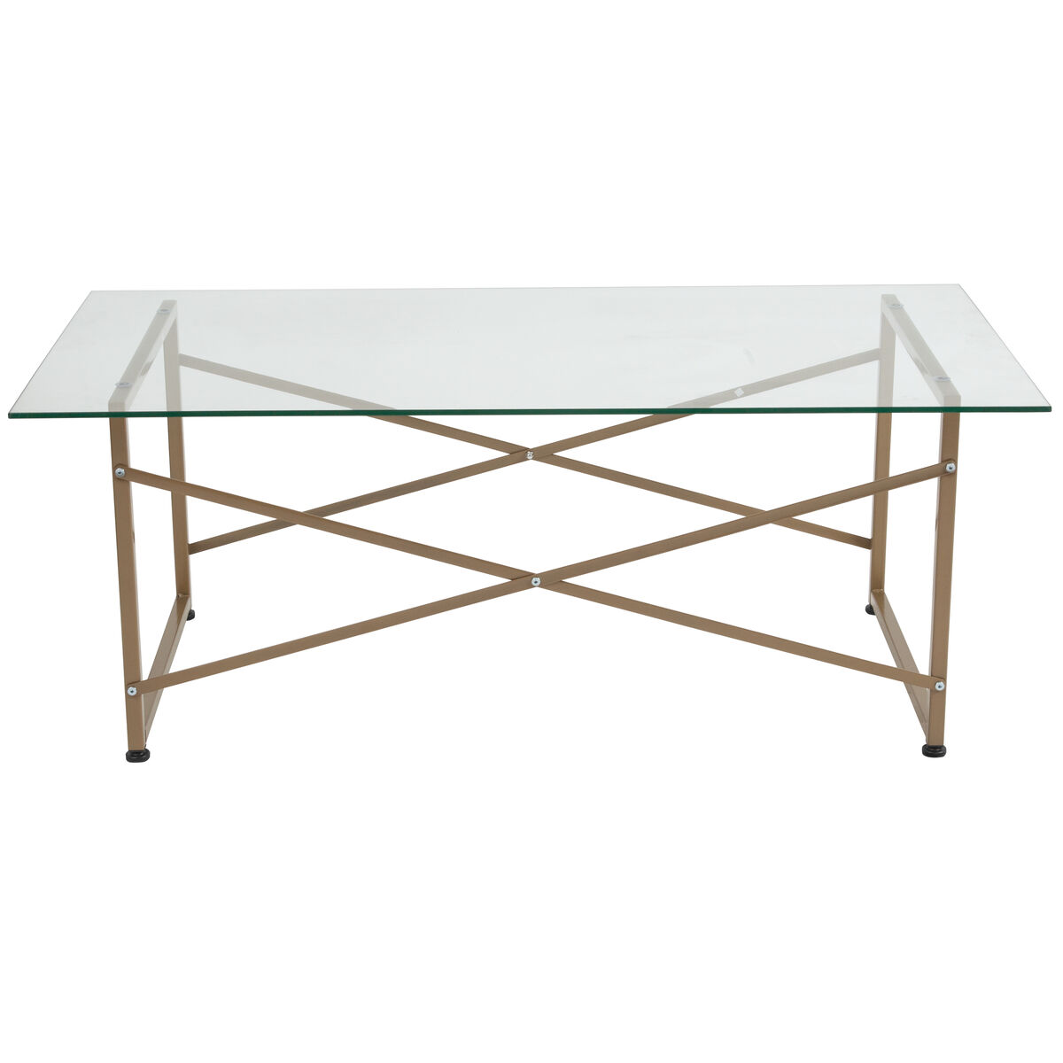 Our mar vista collection glass coffee table with matte gold frame is on sale now
