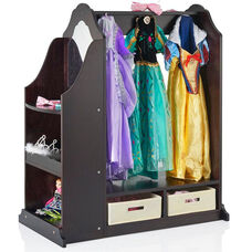 Dress Up Vanity with Eight Storage Hooks and Two Mirrors on Either Side - Espresso - 36