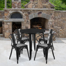 "Commercial Grade 30"" Round Black Metal Indoor-Outdoor Table Set with 4 Arm Chairs"