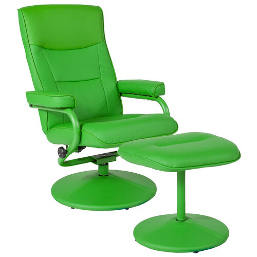 Our Chelsea Contemporary Multi-Position Recliner and Ottoman in Citrus Green Vinyl is on sale now.